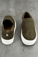 teve Madden Gills Olive Suede Leather Slip-On Sneakers 3