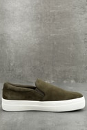 teve Madden Gills Olive Suede Leather Slip-On Sneakers 2