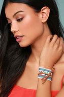 Denim Darling Blue and Brown Embroidered Wrap Bracelet 3