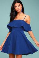 Waterfront Royal Blue Off-the-Shoulder Skater Dress 2
