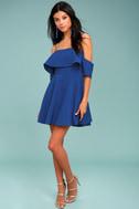 Waterfront Royal Blue Off-the-Shoulder Skater Dress 1