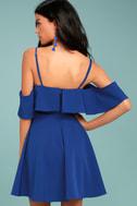 Waterfront Royal Blue Off-the-Shoulder Skater Dress 3