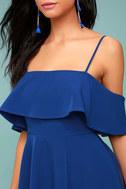 Waterfront Royal Blue Off-the-Shoulder Skater Dress 4