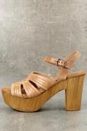 Sbicca Bianco Tan Leather Platform Heels 1