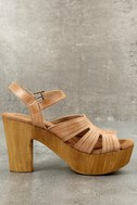 Sbicca Bianco Tan Leather Platform Heels 2