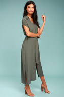 Destination Chic Olive Green Midi Dress 2