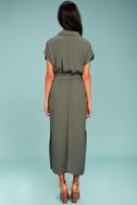 Destination Chic Olive Green Midi Dress 3