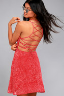 Happy Together Red Polka Dot Lace-Up Dress 2