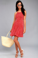 Happy Together Red Polka Dot Lace-Up Dress 1