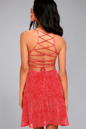 Happy Together Red Polka Dot Lace-Up Dress 3