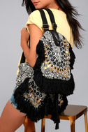 Wild Thing Beige and Black Woven Backpack 3