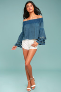 My Getaway Blue Chambray Off-the-Shoulder Crop Top 1