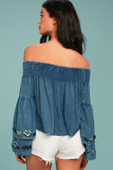 My Getaway Blue Chambray Off-the-Shoulder Crop Top 3