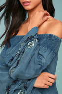 My Getaway Blue Chambray Off-the-Shoulder Crop Top 4