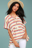 At Sunset Cream Striped Poncho Top 2