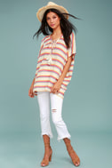 At Sunset Cream Striped Poncho Top 1