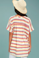 At Sunset Cream Striped Poncho Top 3