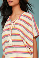 At Sunset Cream Striped Poncho Top 4