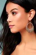 Plume Gold and Silver Hoop Earrings 1