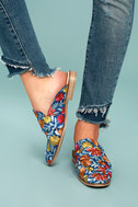 Free People Brocade At Ease Blue Combo Embroidered Loafer Slides 4
