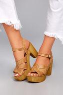 Sbicca Bianco Tan Leather Platform Heels 4