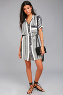 East End Black and White Striped Shirt Dress 1