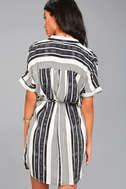 East End Black and White Striped Shirt Dress 3