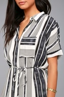 East End Black and White Striped Shirt Dress 4