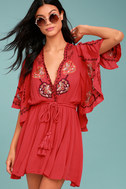 Free People Cora Coral Red Embroidered Dress 2
