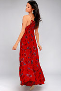 Free People Garden Party Red Floral Print Maxi Dress 2