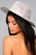 Top It Off Grey Suede Fedora Hat 2