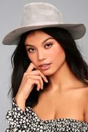 Top It Off Grey Suede Fedora Hat 1