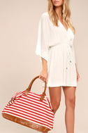 Jet Setter Cream and Red Striped Weekender Bag 1