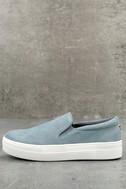 Steve Madden Gills Light Blue Suede Leather Slip-On Sneakers 1