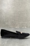 Beatrice Black Velvet Embroidered Loafers 2