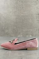Beatrice Blush Velvet Embroidered Loafers 1