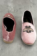 Beatrice Blush Velvet Embroidered Loafers 3