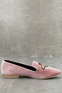 Beatrice Blush Velvet Embroidered Loafers 2
