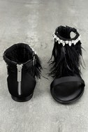 Steve Madden Adore Black Feather and Rhinestone Sandals 3