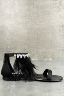 Steve Madden Adore Black Feather and Rhinestone Sandals 2