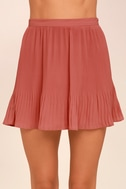 Next to Me Rusty Rose Pleated Mini Skirt 3