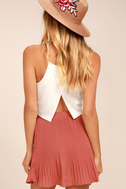 Next to Me Rusty Rose Pleated Mini Skirt 4