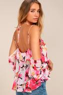 Pretty Petals Pink Floral Print Off-the-Shoulder Top 3