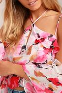 Pretty Petals Pink Floral Print Off-the-Shoulder Top 4