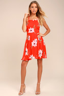 Happy Together Coral Red Floral Print Lace-Up Dress 1