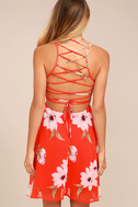 Happy Together Coral Red Floral Print Lace-Up Dress 3