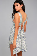 Early Morning Rain White Print Lace-Up Dress 2