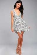 Early Morning Rain White Print Lace-Up Dress 1