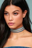 Aspen Blue Embroidered Choker Necklace Set 3