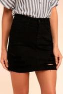 Mini Oh My Black Distressed Denim Mini Skirt 3